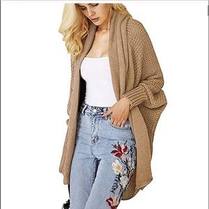 woman oversized knitted cardigan sweater